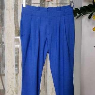 High-wait Blue Pants
