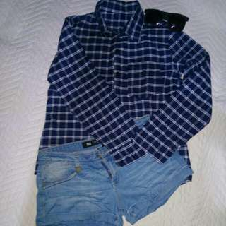 Bundle Blue Plaid Polo Denim Shorts