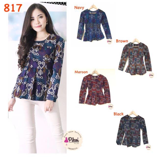 817 Batik Lengan Panjang   Baju Batik Wanita Modern   Atasan Batik Kantor    Kerja   a69c825924