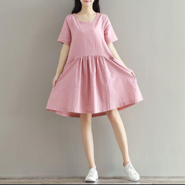 棉麻粉色短袖寬洋裝