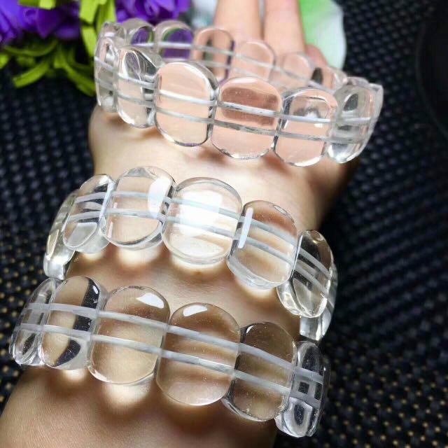 超美的無雜質白水晶手排
