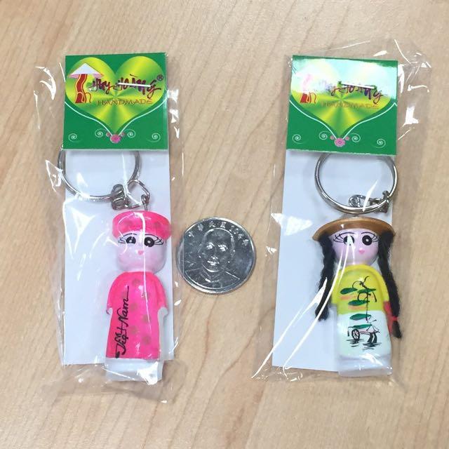 越南人偶造型手工鑰匙圈一組