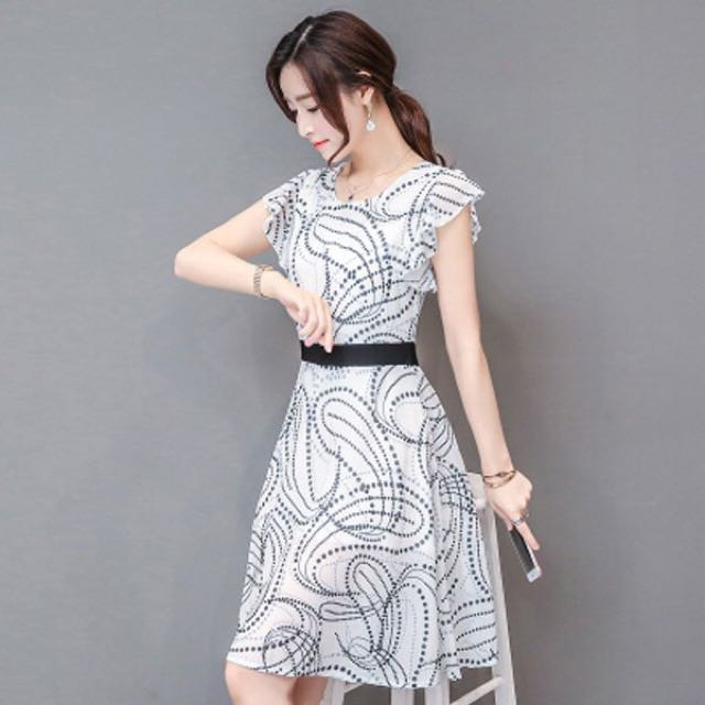 韓版修身雪紡印花短袖連衣裙