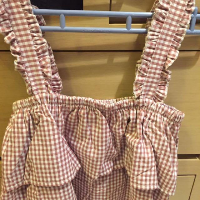 可愛格紋背心上衣 粉白格含運