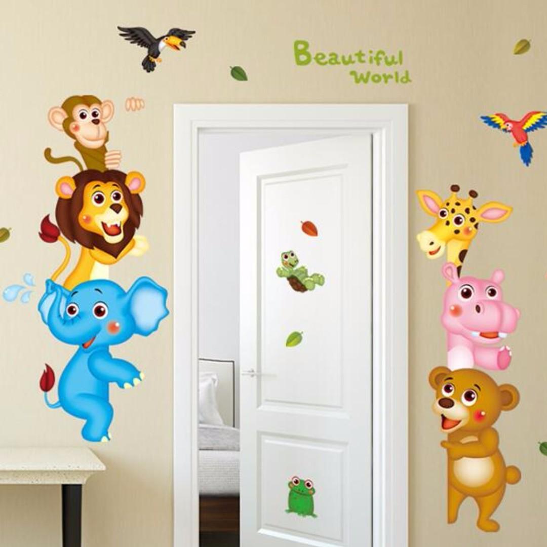 現貨 壁貼 動物 獅子 大象 居家裝飾 客廳佈置  牆貼 壁紙   JB0355《動物世界XL8207》【 居家城堡】