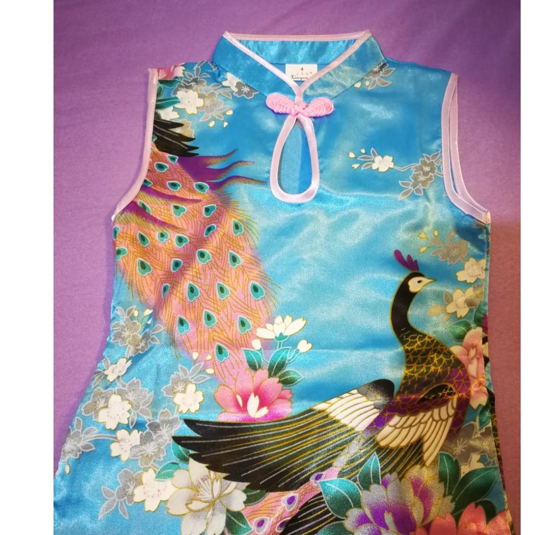 小童 女童 小孩 中國旗袍 粉藍  Size 4