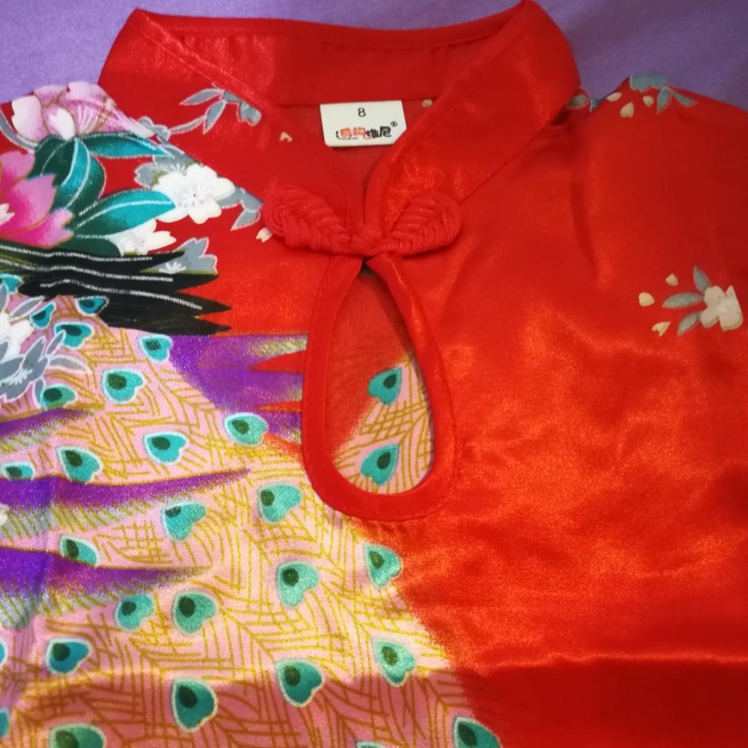 小童 女童 小孩 中國旗袍 紅色  Size 8