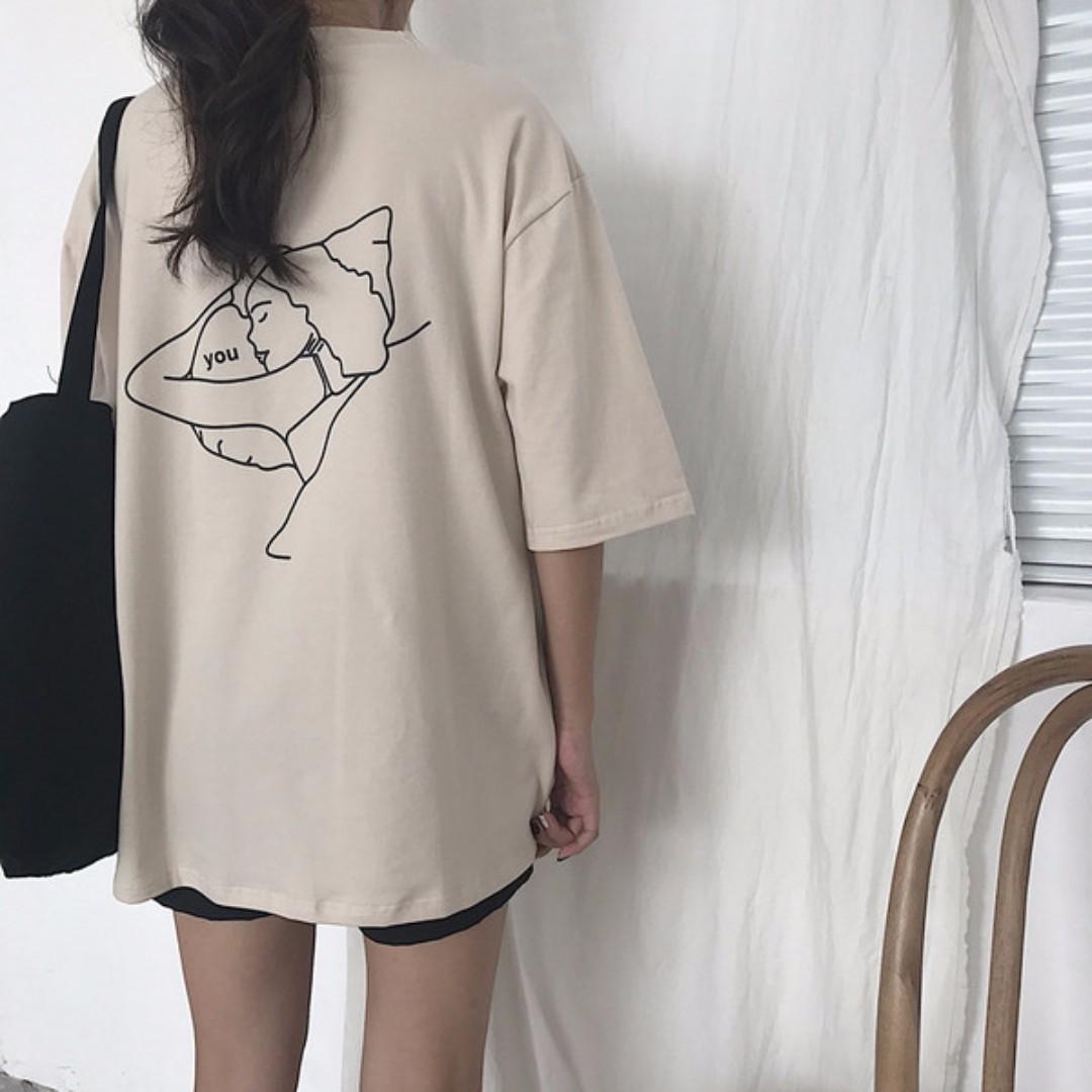 文青風 可愛圖騰 百搭復古睡美人 T-shirt