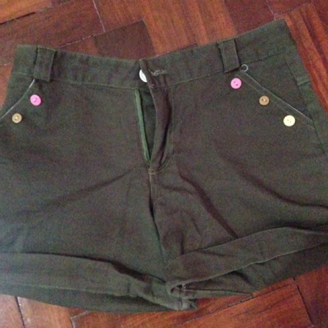 Army Navy With Colorful Buttons Highwaist Shorts