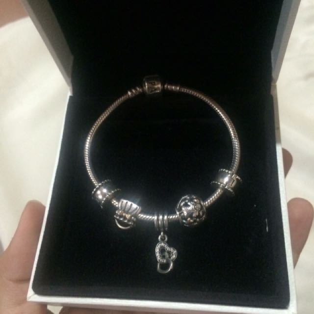 Authentic Pandora Bracelet WITH Charms and Clips