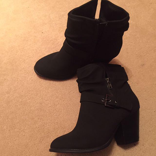Black Straps Boots