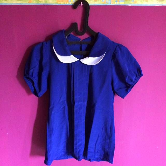 Blue Peterpan Collar Top