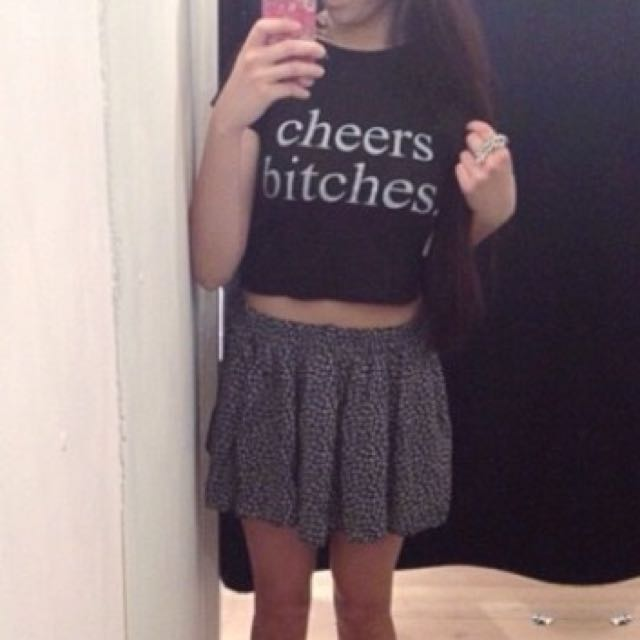 "Brandy Melville ""Cheers Bitches"" Crop Top Tshirt"