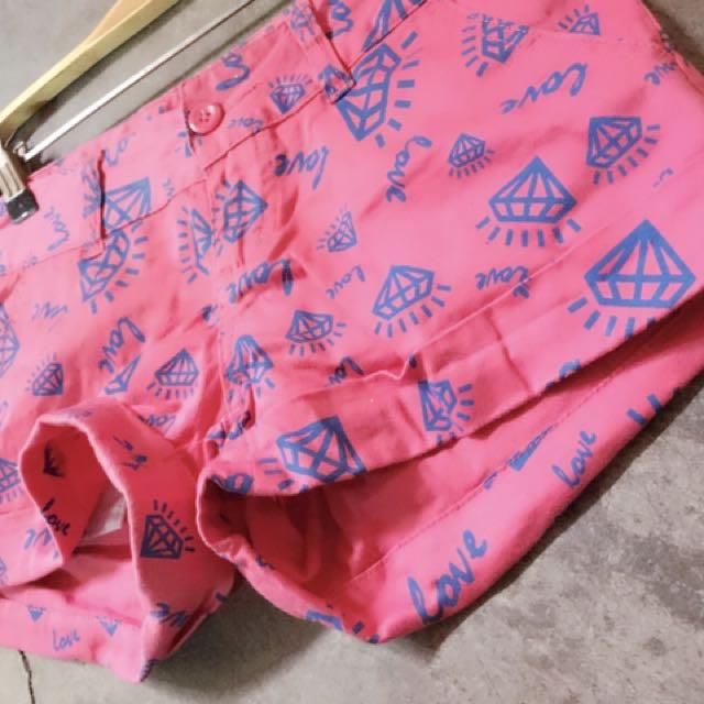 BSX品牌短褲螢光卡其萊卡滿版字母短褲