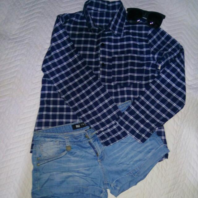 Bundle Blue Plaid Polo Denim Shorts