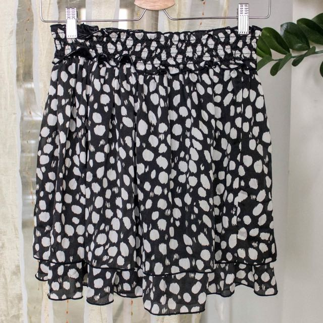 B&W Polka Dot Mini Skirt