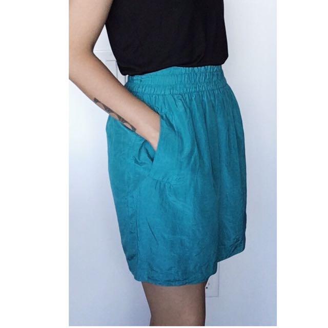 Club Monaco Turquoise Elastic Band Skirt