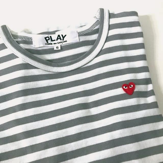 Comme Des Garcons Play Stripped Long Sleeve T-shirt Grey CDG
