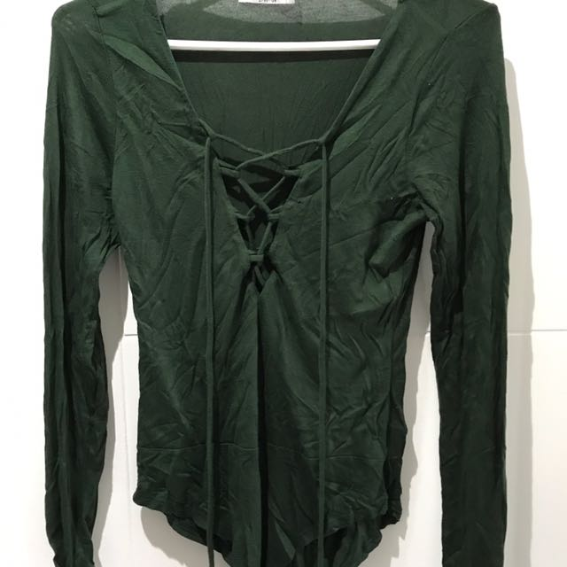 Dark Green Lace Up Bodysuit