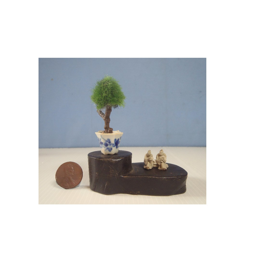 Dollhouse Miniature Hand Made Potted Bonsai Ceramic Mudman Display Wood Stand Toys Games Others On Carousell