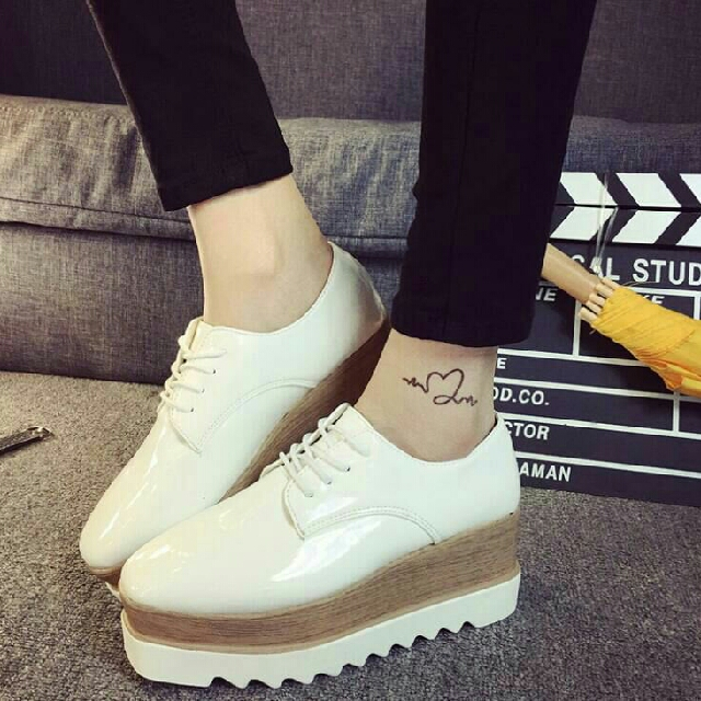 England Fashion Women s Retro Thick Sole Casual Shinny Shoes ... 6d0a569a43
