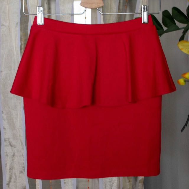 Forever21 Red Peplum Skirt