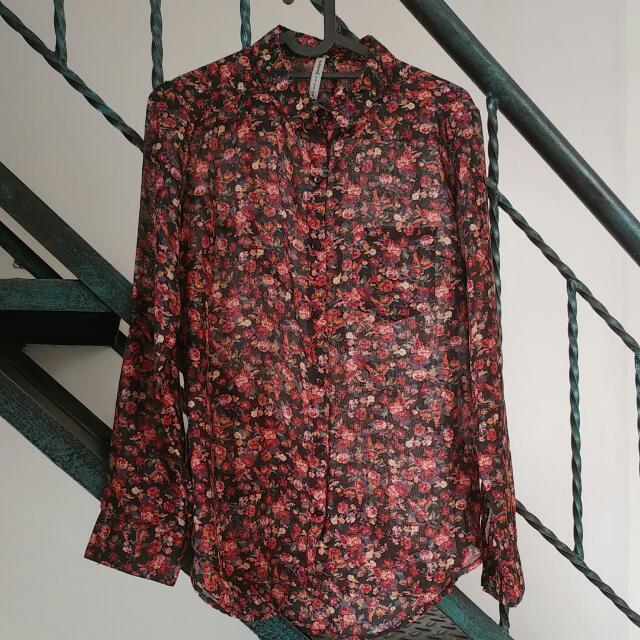 FREE Shipping Stradivarius Flower Shirt