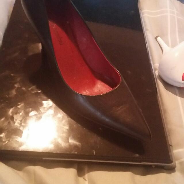 Genuine Leather Black Heels