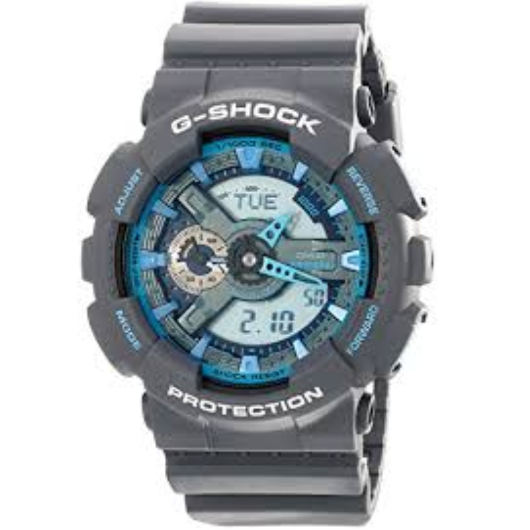 Grey And Blue Casio G-Shock Analog Digital Watch GA110TS-8A2 (Authentic from U.S)   Guys, If You Will Ask Me About The Warranty. Hindi Ko Po Alam, Kasi Niregalo Lang Po Ito Sa Akin, But I Can Assure You, Original Po Ito 😊😊😊