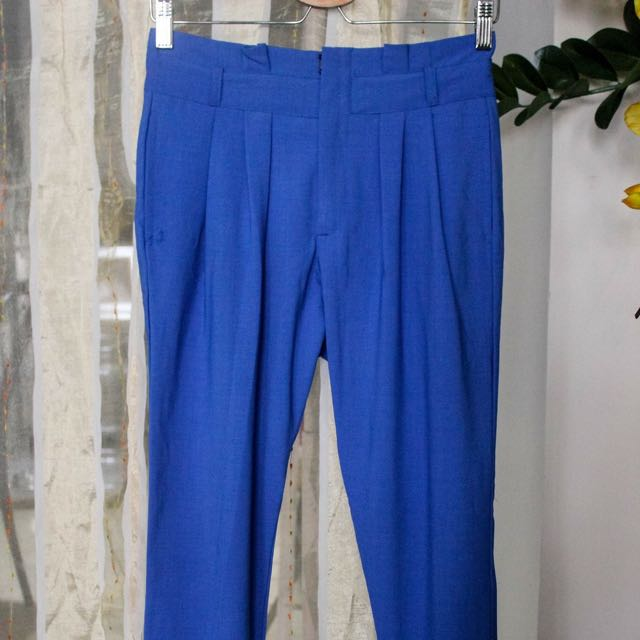 High-wait Blue Pants