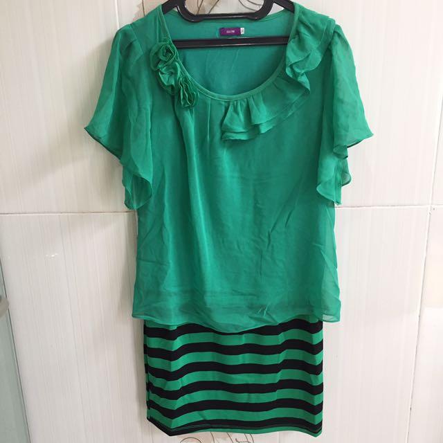 Hijau loreng hitam hongkong dress