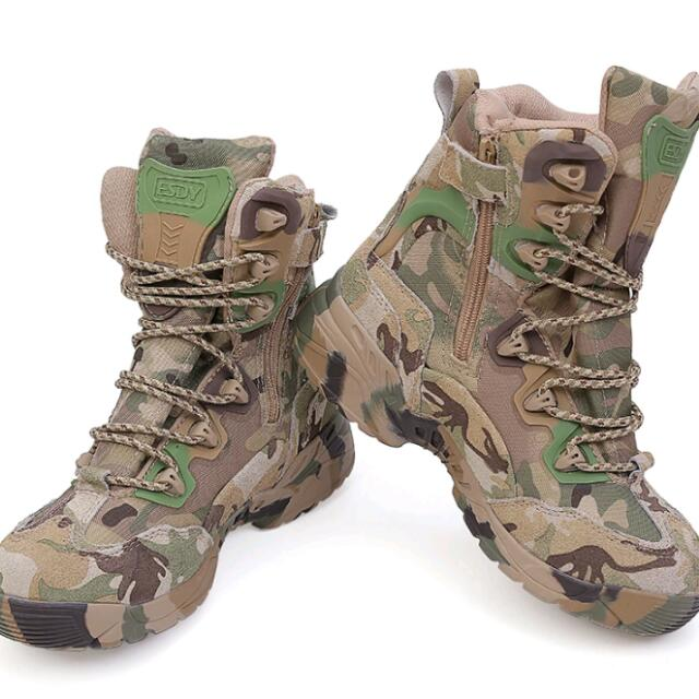 a3410915fd6 Military Tactical Combat Outdoor Army Men Boots Desert Botas Hiking Autumn  Shoes Travel Leather High Boots Male