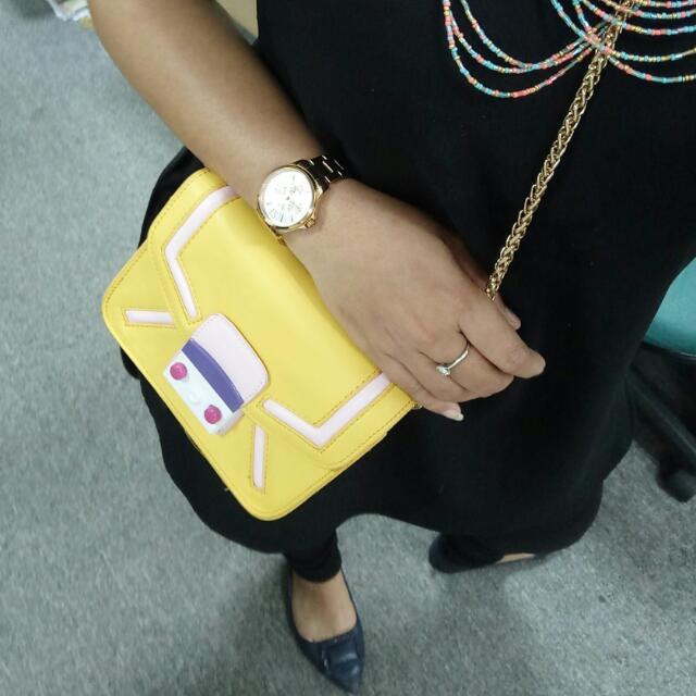 (TAS) MINI BAG/CLUTCH YELLOW BRAND HONGKONG