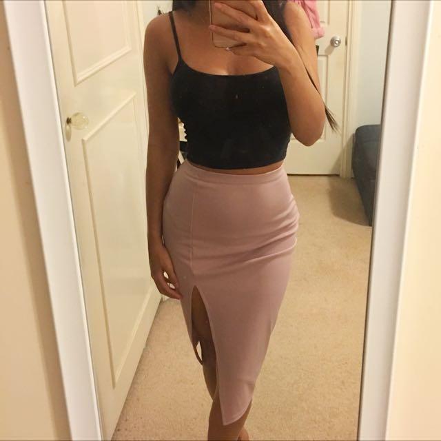 Missguided Thigh High Split Scuba Mini Skirt