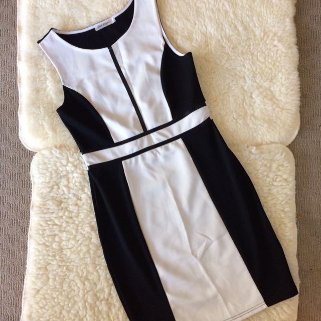 Paper Scissors Black And White Dress