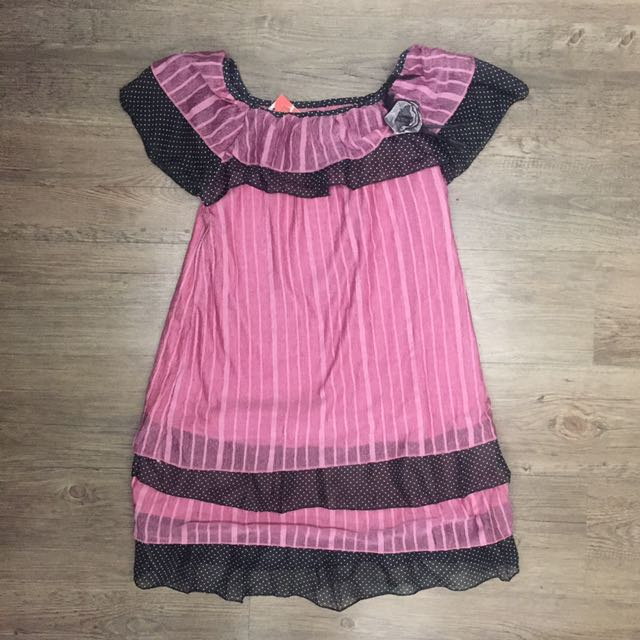 Pink And Black Ruffled Top