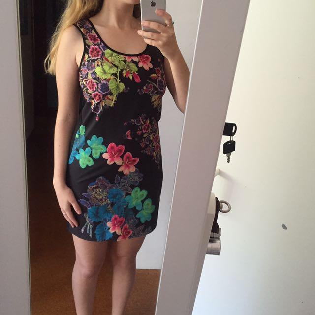 Pink Stitch Floral Dress