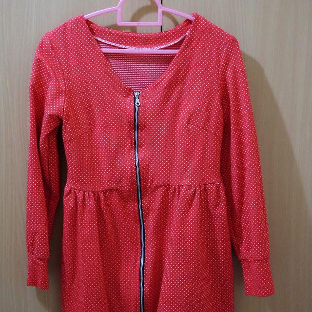 POLKADOT RED SHORT DRESS