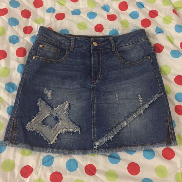 Rok Celana Jeans Motif