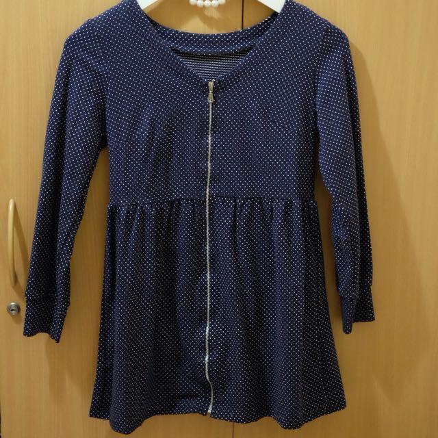 SHORT POLKADOT BLUE DRESS