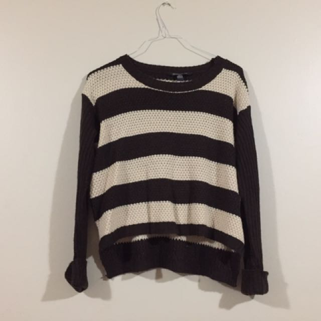 Stripe Sweater Brown And White