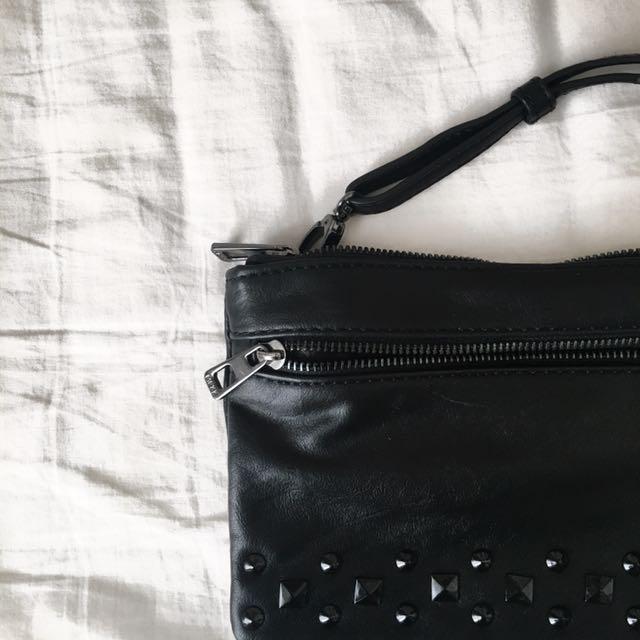 Studded Black Cross-body Bag