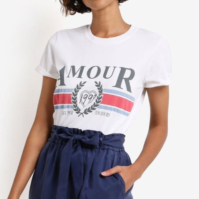 0556891b2 Topshop Petite Amour Slogan T-shirt, Women's Fashion, Clothes, Tops on  Carousell
