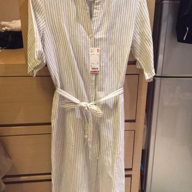 Uniqlo 全新 條紋洋裝上衣外套含運
