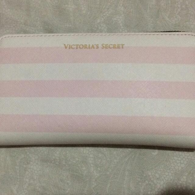Victoria's Secret Wallet In Pink Stripes White