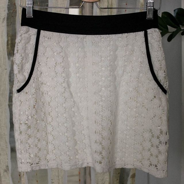 White Laced Mini Skirt