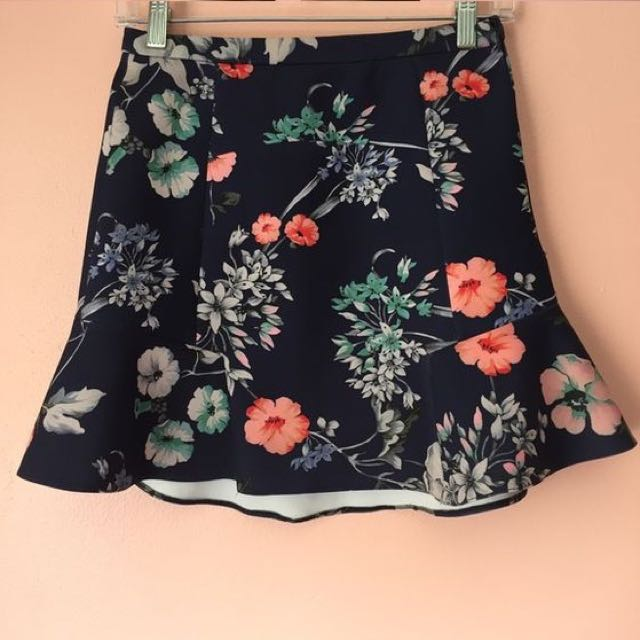 Zara Floral Mini Ruffle Skirt