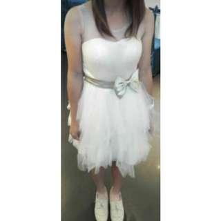 🚚 米色紗裙小禮服