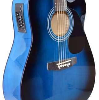 Blue Electro Acoustic Guitar