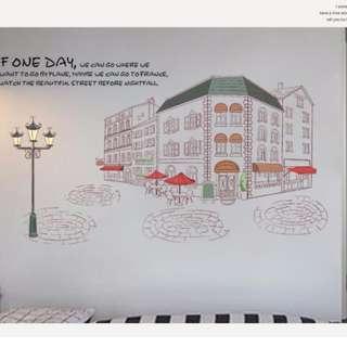 現貨 壁貼 路燈 歐洲街景 居家裝飾 客廳佈置 壁紙 牆貼  JB0358《城市街景AM9212》【 居家城堡】